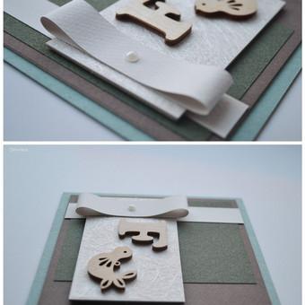 Rankų darbo atvirukas krikštynų/gimtadienio proga. Dydis - 120 x 120 (gali būti ir su vokeliu).