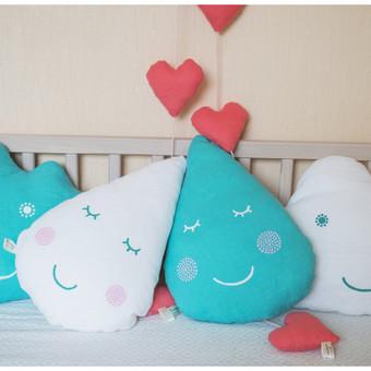 Lininės pagalvėlės, dekoracijos