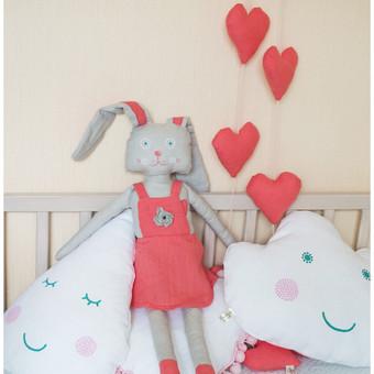 Lininės pagalvėlės, dekoracijos, kiškutė