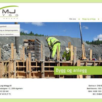 Statybinės kompanijos MJbygg internetinė svetainė. www.mjbygg.no
