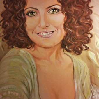 Moters portretas ant drobės.