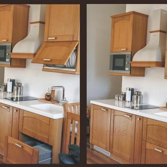 Virtuvės baldų komplektas iš ąžuolo.