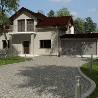Nors pats namo tūris vienalytis, nesudėtingos konstrukcijos, jaukumo jam suteikia daugiašlaitis stogas, kolonos, akcentuojančios pagrindinio įėjimo vietą, medinė terasa ir gerai apgalvoti apd ...