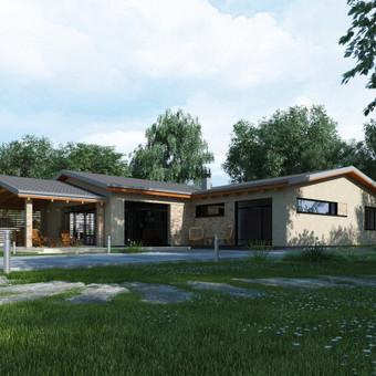 Namo projektas buvo rengiamas atsižvelgus į Užsakovų norus ir pageidavimus. Parenkant L formos namo suplanavimo formą  buvo suformuotas jaukus vidinis kiemas, kuriame šeima galės leisti savo l ...