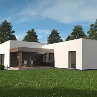 amo projektas išsiskiria modernumu ir rimtumu. Namo formą sudaro du tūriai, iš kurių vienas šiek ties pakeltas taip formą išskaidant į dvi dalis, todėl namas tampa vizualiai išraiškingesn ...