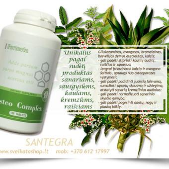 Osteo Complex (180) – unikalus kompanijos Santegra produktas, pagamintas pagal paskutinius medicininius tyrimus, siekiant išsaugoti atraminės judėjimo sistemos funkcijas.