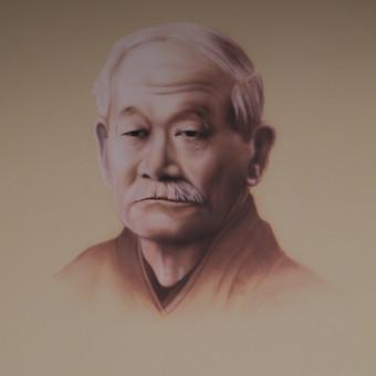 Dziudo meistro portretas ant sienos, LSU dziudo salė, Kaunas