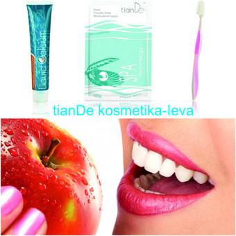 """Balinančios dantų priemonės: dantų pasta, milteliai """"Perlų pudra"""" ir naujos technologijos dantų šepetėlis su silikoniniais šereliais. Naudojant šį rinkinį pasieksite baltų dantų efektą ..."""