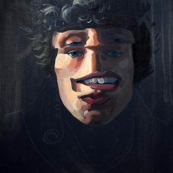 Kūrybinis darbas, Auto portretas. Aliejiniai dažai, drobė.