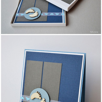 Rankų darbo atvirukas dekoruotoje dėžutėje. Dydis - 110 x 110 x 10.
