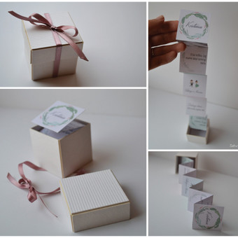 Kvietimas į vestuves dekoruotoje dėžutėje. Dėžutės dydis - 50 x 50 x 50. Kokybiška spauda + rankų darbas.