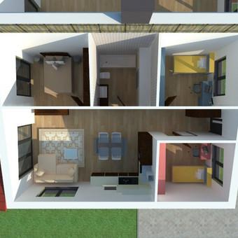 Patalpų planavimas Netoniuose statomiem dvibučiam