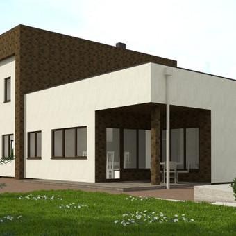 Šis dvibutis gyvenamasis namas buvo projektuojamas šeimai, kurios nariai nutarė nepabėgti toli vieni nuo kitų :) Mažesnė namo dalis suprojektuota tėvams, didesnė dalis - vaikams ir jų maži ...