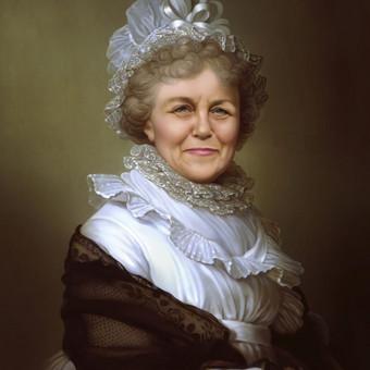 Moters portretas senoviniu stiliumi. Veidas tapytas iš nuotraukos, rūbus parinkau pats.