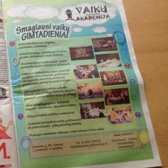 """""""Vaikų laisvalaikio akademija"""", reklaminė kampanija spaudoje"""