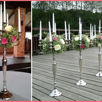 Žvakidės dekoruotos gėlėmis