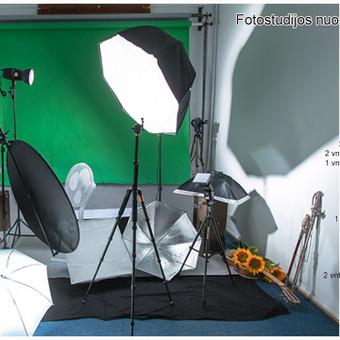 Fotostudijos nuoma Vilniuje - tik 10 € / val.   Įranga Vilniuje Šaltinių g. 11-18 Plotas - 48 kv. m. Lubų aukštis – 3,35 m. Patalpų ilgis nuo fono – 8 m.
