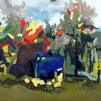 Drugeliai tik bunda  90 x 110 aliejus drobe Šį paveikslą galite pamatyti ir įsigyti ,,Parko galerijoje,,  Valančiaus g. 6,  Kaunas