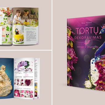 """Knygos """"Tortų dekoravimas - smagu ir paprasta"""" dizaino sukūrimas ir maketavimas. Knygoje ~1500 unikalių iliustracijų, 250 psl."""