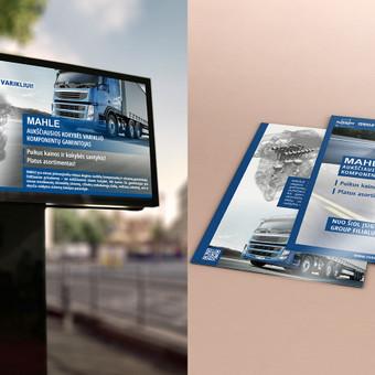 Reklamos kampanijos komplektas: video reklama LCD monitoriuje ir A5 brošiūros.