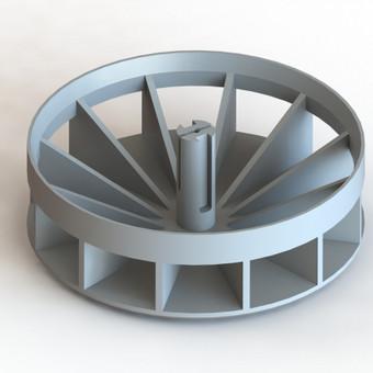 Variklio aušinimo sparnuotė. Gamybos būdas - 3D spausdinimas.