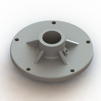 Žoliapjovės peilio tvirtinimo diskas. Atkurtas pagal pavyzdį. Gamybos būdas - 3D spausdinimas.