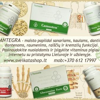 Santegra maisto papildai sanariams, kaulams, dantims, dantenoms, raumenims, nagams, plaukams, raiščių ir kremzlių funkcijai ir t.t.