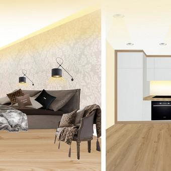 70 kv.m. buto interjero projektas: miegamojo ir virtuvės zonos.