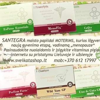 """SANTEGRA produktai MOTERIMS, kurios išgyvena naują gyvenimo etapą, vadinamą """"menopauze"""". Naturalūs maisto papildai su Fito-estrogenais, Fito-progesteronais."""