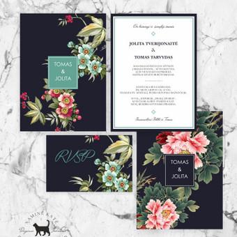Modernus Boho kvietimas Ryškus ir gėlėtas, romantiškas ir drąsus kvietimo dizainas išskirtinėms poroms ir jų šventei. Kvietimo dydis 180x126, galimi ir kiti dydžio variantai. RVSP dydis 78 ...