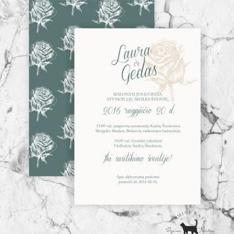 """Kvietimas """"Elegancija"""" Elgantiškos rožės elementas, harmoninga žalia  spalva sukurs modernią, savitą vestuvių stiliaus filosofiją, moderniai porai."""