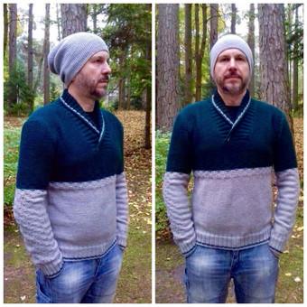 Vyriškas pusvilnės megztinis ir kepurė
