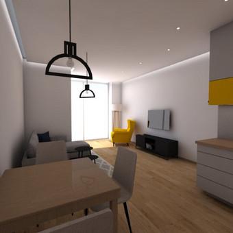 Klientams pateiktos būsimo buto vizualizacijos. Projektas atliktas kartu su interjero dizainere Gabriele Sereikaite.