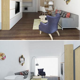 Mažos erdvės perplanavimas. Virtuvė, valgomasis, svetainė, holas.