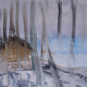 """TROBELĖ""/ ""THE SHACK"" (akrilas, drobė, 60x80 cm, 2015)"