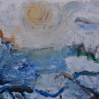 """EŽERAS MĖNESIENOJE""/ ""LAKE IN THE MOONLIGHT"" (60x80 cm, drobė, akrilas, 2014 m.)"