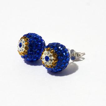 Sidabriniai auskarai mėlyni, sidabras 925