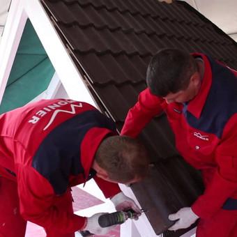 Čerpių stogo įrengimas,K kraigo ir kraštinių čerpių montavimas.