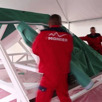 Čerpių stogo įrengimas,  stogo plėvelė montavimas.