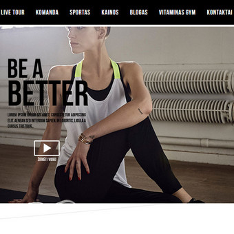 Informacinė sporto klubo Vitaminas Gym internetinė svetainė su virtualiu turu. Drupal 8 TVS (turinio valdymo sistema)