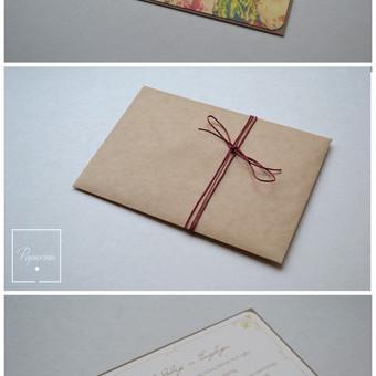 Kvietimas į vestuves. Dydis - 150 x 100. Trys dalys - kvietimo pagrindas su tekstu, vokas ir vaškuota virvelė . Kokybiška spauda + rankų darbas.