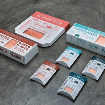 Įmonės ŽUVIES ŽODIS produkcijos pakuotėms sukurti tekstai.