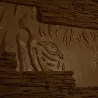 Sienos dekoravimas meniniais lipdiniais. Suformuojami tigro motyvai susidedantys iš smulkių detalių. Darbo trukmė 6 dienos.