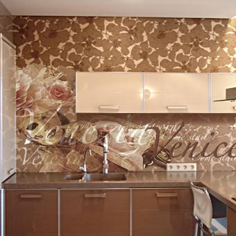 Virtuvinio stiklo dekoras.  Skaitmeninė spauda ant plėvelės