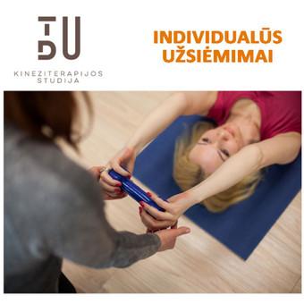 Dirbama individualiai. Gali būti taikomos įvairios modernios kineziterapijos priemonės. Trumkmė 45 - 60 min.