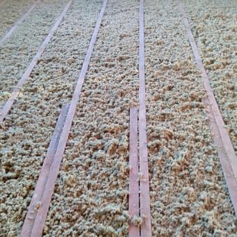 Šiltiname grindis, perdangą, stogą purškiama akmens vata.