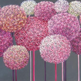 Rožiniai pūkai 90x35, al./drobė.
