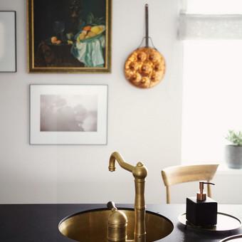 Virtuvės interjero fragmentas. Modernus virtuvės stilius ir žalvario akcentai.