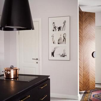 2 kambarių buto interjero dizainas. Atvira virtuvės zona.