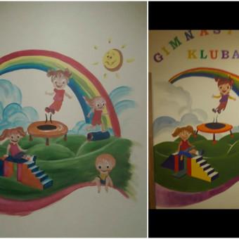 """Gimnastikos klubas """"Skrydis"""", šviesesnė, ryškesnė piešinio kopija pertapyta 1m2 formatu naujose patalpose. Vilnius"""